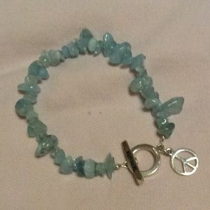Jewelry - STERLING SILVER Light Blue Stone Charm Bracelet